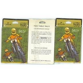 Vintage Bridge tally cards in a motocross-motorcycle theme