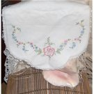 32 inch Pink Roses... hand embroidered dresser scarf-doily