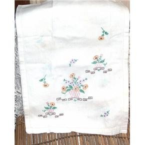 38 inch hand embroidered flower pots dresser scarf doily