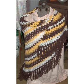Brown, yellow, white Shawl - large - vintage but never used