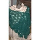 Green with Blue Scarf hand knotted/loomed vintage never used