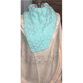 Mint Green long Scarf hand knit - vintage but never used
