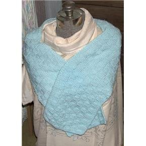 Mint Green wide Scarf hand knit - vintage but never used