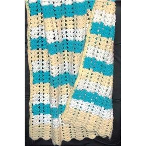 Hand crocheted crib afghan very nice vintage item