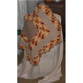 Autumn colors crocheted crib/lap/baby doll afghan - vintage