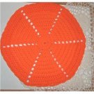 12 inch round orange hot pad handmade crocheted - vintage