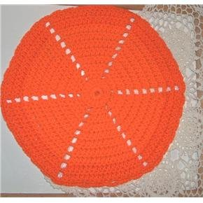 12 inch round orange hot pad handmade crocheted - vintage