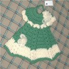 crocheted decorative green hot pad or DRESS up your dish soap