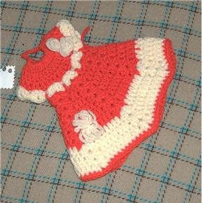 crocheted decorative red hot pad or DRESS up your dish soap