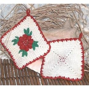 Crocheted red-white Decorative Potholders Hand Made vintage