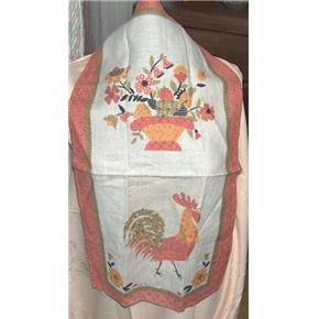 Rooster and flowers vintage linen towel signed Luther Travis