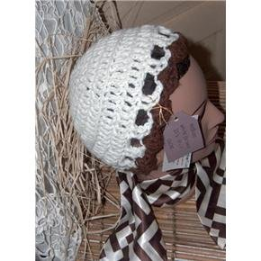 White and Brown Hand Crocheted designer hat 20's cloche