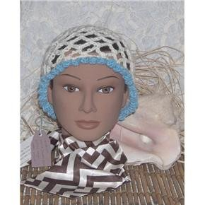 Hand Crocheted hat - white with baby blue metallic trim