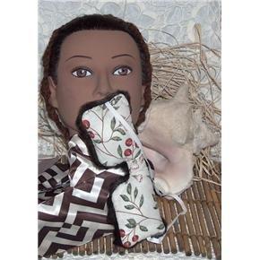 Cherries and faux fur eye mask eye pillow - stretch strap