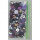 2 oz mostly blue-purple vintage buttons - sewing crafts bag2