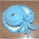 hand crocheted hat pincushion powder blue white country blue