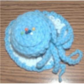 hand crocheted hat pincushion powder blue white country blue
