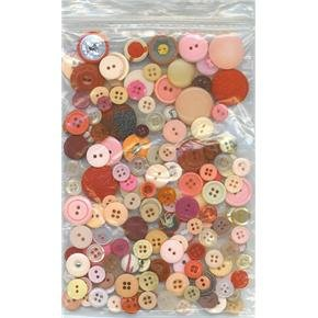 2 oz mostly pinks reds vintage buttons for sewing or crafts