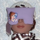 Lavender eye mask-pillow with brunette -purple ribbon border