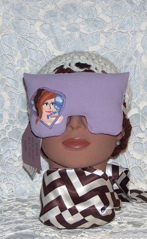 Lavender eye mask-pillow with brunette -purple ribbon border