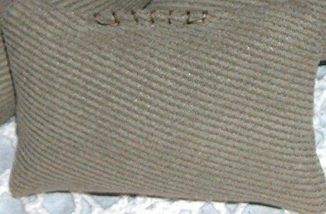 Faux suede 2-tone green sachet 2 x 4 decorative stitch