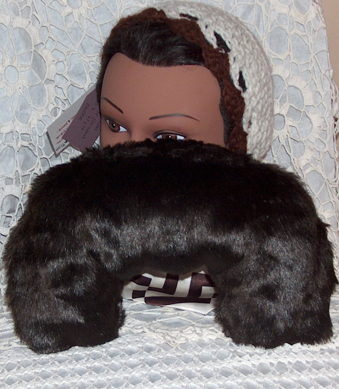dark brown faux fur neck pillow with dream herbs - medium size great for travel