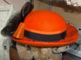 100% wool Made in USA orange and black vintage hat - NOS