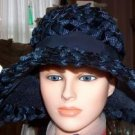 Navy Blue wide-brimmed straw and ribbon vintage hat-Original Roberta Bernays