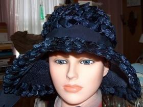 Navy Blue wide-brimmed straw and ribbon vintage hat-Original Roberta Bernays