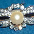 faux Pearl and Rhinestone on silvertone scarf clip