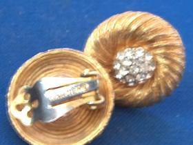 Kramer Rhinestone clip earrings - goldtone