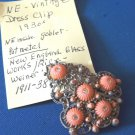 New England Glass Works vintage dress clip - coral silver gold