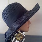 Black  wide-brimmed straw Christine Original Park Ave New York vintage hat