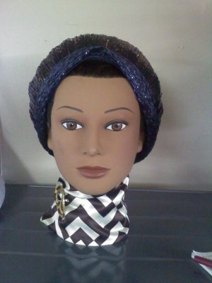 Vintage turban style straw and cello raffia hat made by F & M Millinery