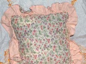 floral pillow with two sided ruffle scented by Lavender Roses Lilac inside