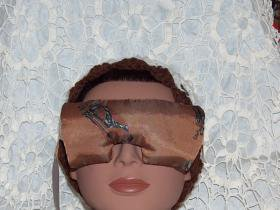 golf print and brown eye mask pillow with lace strap - lavender inside