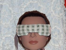 Green and Beige Eye Mask with stretch lace strap - lavender inside