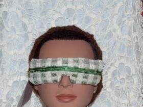 Green and Beige Eye Mask with green satiny ribbon tie - lavender inside