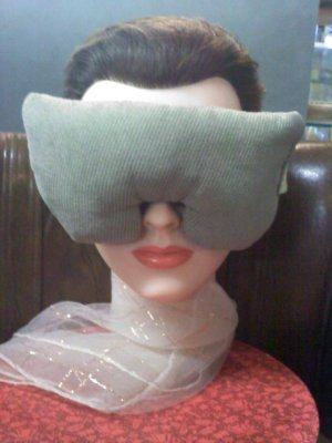 Faux suede light green eye mask pillow with lavender inside - extra long strap