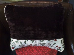 Cherries and chocolate crushed velvet with satin back relaxation pillow - real lavender