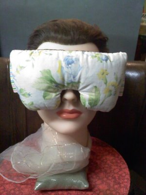 Blue roses eye mask pillow with real lavender inside - wide strap