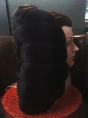 dark brown faux fur neck pillow with lavender - smaller size great for travel