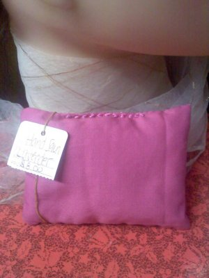 Vintage pink cotton sachet hand-stitched with ribbon stitches