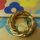 gold twist vintage circle pin brooch