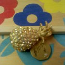 pineapple with rhinestones vintage pin brooch
