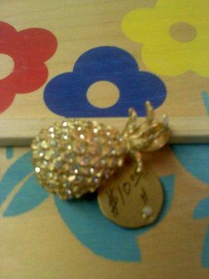 pineapple with rhinestones vintage pin brooch