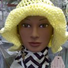 Pale Yellow hat with floppy brim and tan vintage buttons