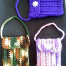 Hand crocheted mini purse - this one is browns and greens like chamo