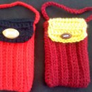 Hand crocheted mini purse - this one is dark red and yellow with a football decoration