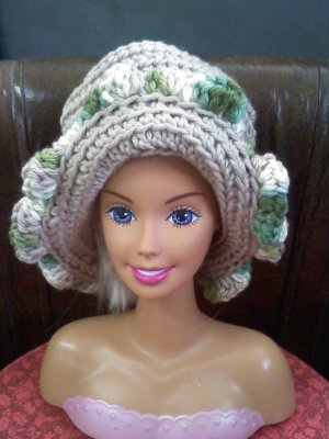 Crocheted child hat tans/greens- wear to play, go to Grandma's or on doll, bear